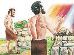 Caim e Abel oferecendo sacrifícios a Deus