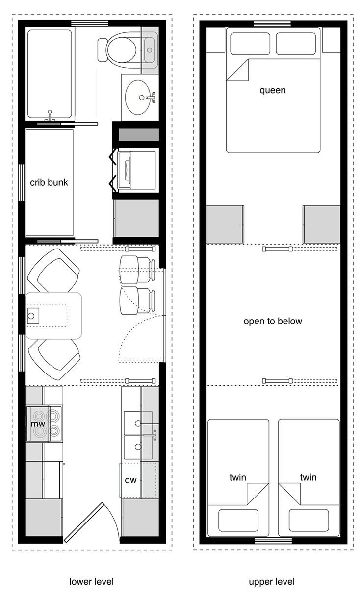8x28 Tiny House for a family of four - two cribs, a twin, and a queen bed.