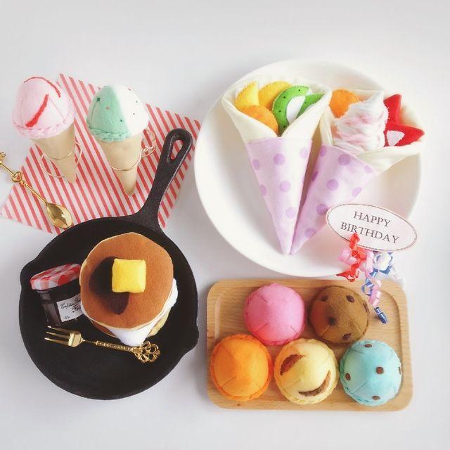 【再70】出産祝ギフト♡フェルトままごとアイスクリーム詰め合わせ