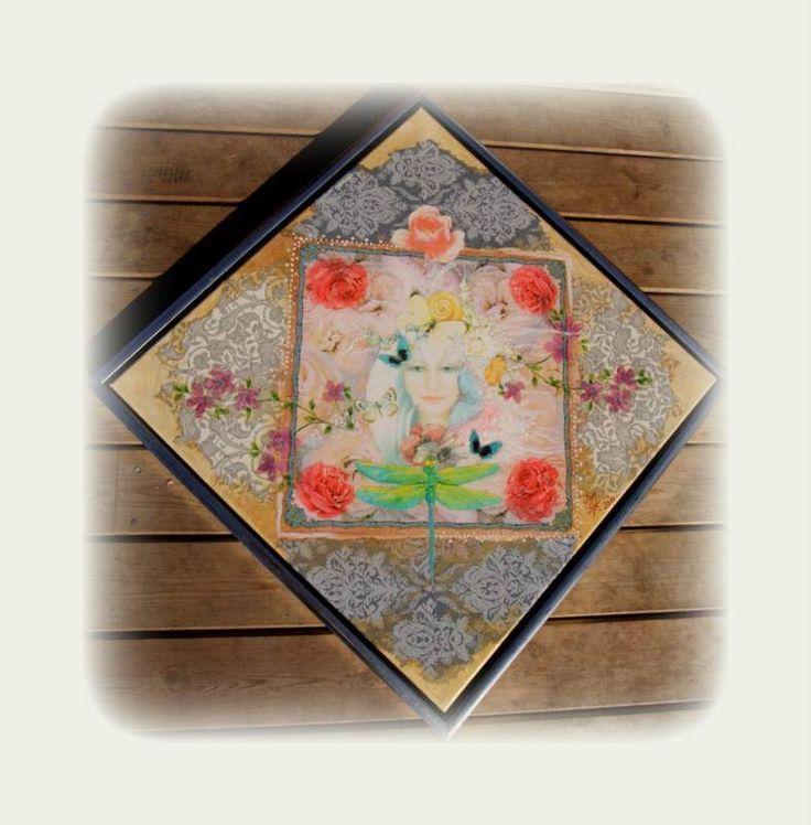 collage maleri, lavet med fotokopier, servietter og akryl maling