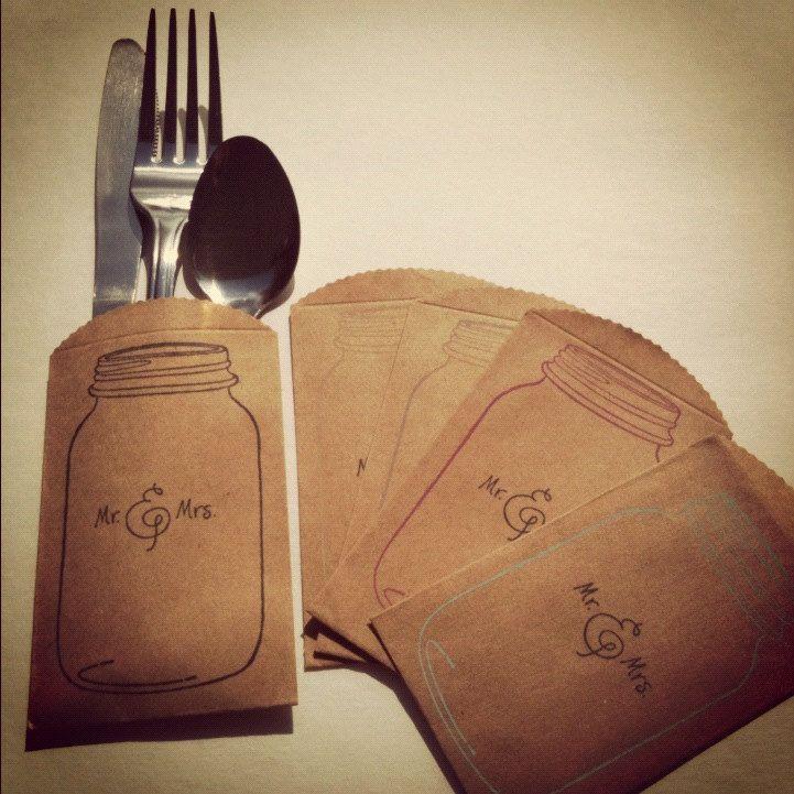 What To Put In Mason Jars For Decoration: Mason Jar Bridal Shower Brown Paper Bag Sacks Mason Jar