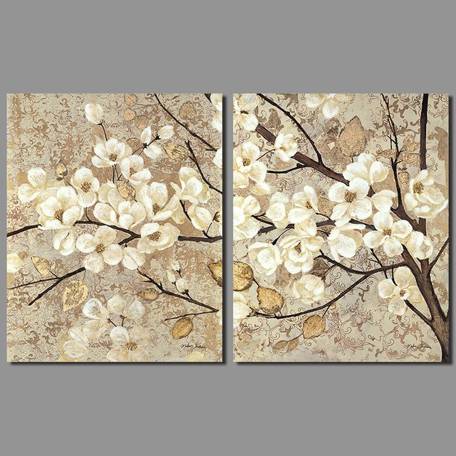 Decoración de estilo Chino Retro Japón blanco flores de pared imagen de arte amarillo viejo árboles de hoja de sala de estar de Pintura sin marco de Lona