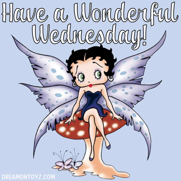 Have a Wonderful Wednesday! For more Betty Boop graphics & greetings: http://bettybooppicturesarchive.blogspot.com/ ~And on Facebook~ https://www.facebook.com/bettybooppictures Fairy Betty Boop sitting on a mushroom
