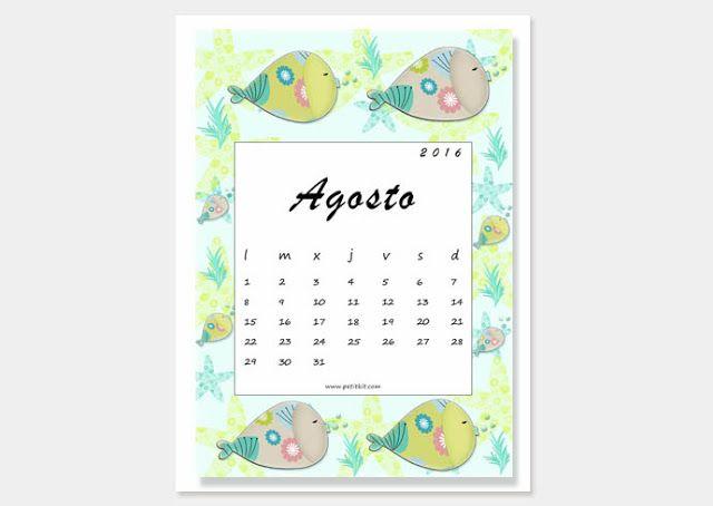 Petit Kit: Calendario imprimible y fondo de pantalla: agosto 2016