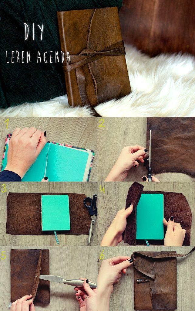 11. Reutilizar cuero puede ser una opción para cubrir un cuaderno de forma resistente.