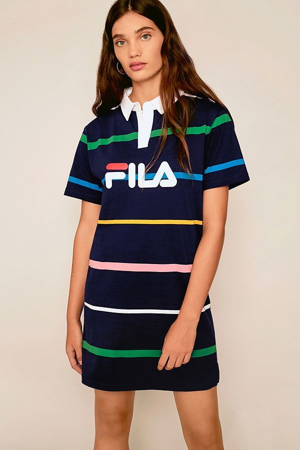 7b2caea6caf56 Slide View: 1: FILA Navy Rugby Striped Shirt Dress | Style Inspo ...