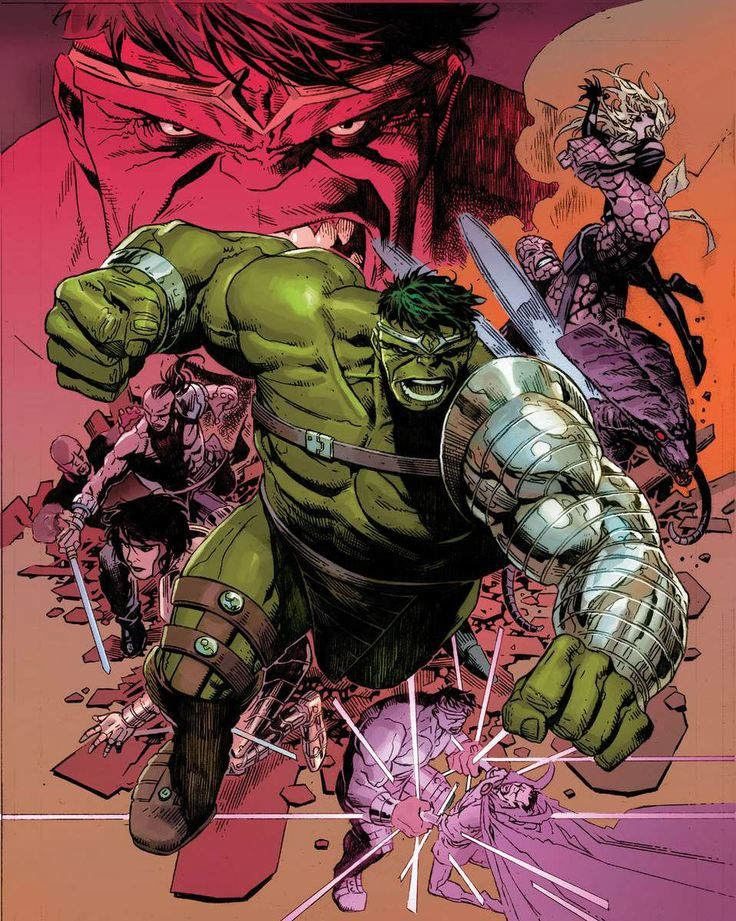 Hulk (Dr. Bruce Banner) (Green Scar persona) & The Warbound | art by Jim Cheung