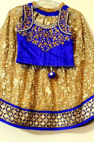Gold Color Brasso Lehenga - Indian Dresses