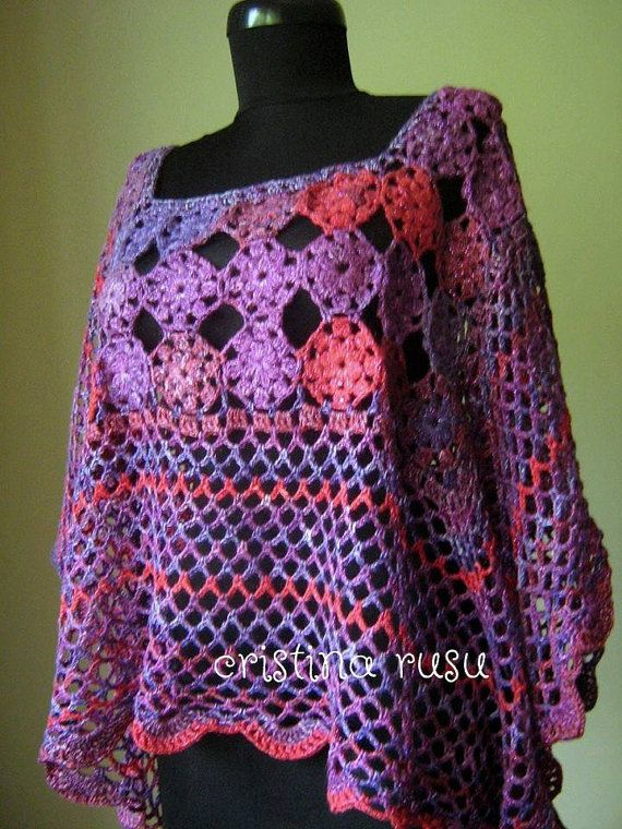 Crochet Lace poncho chic crochet top Crochet by CrisColourCrochet