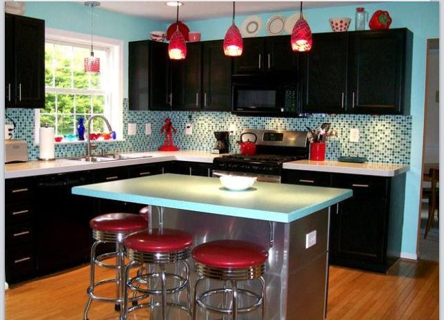 Genial Teal And Red Kitchen