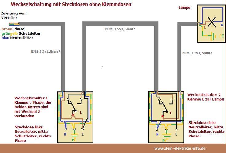 Wechselschaltung Mit Steckdosen Anschliessen Wechselschaltung Mit Steckdosen Anschliessen The Steckdosen Elektroinstallation Elektroinstallation Selber Machen