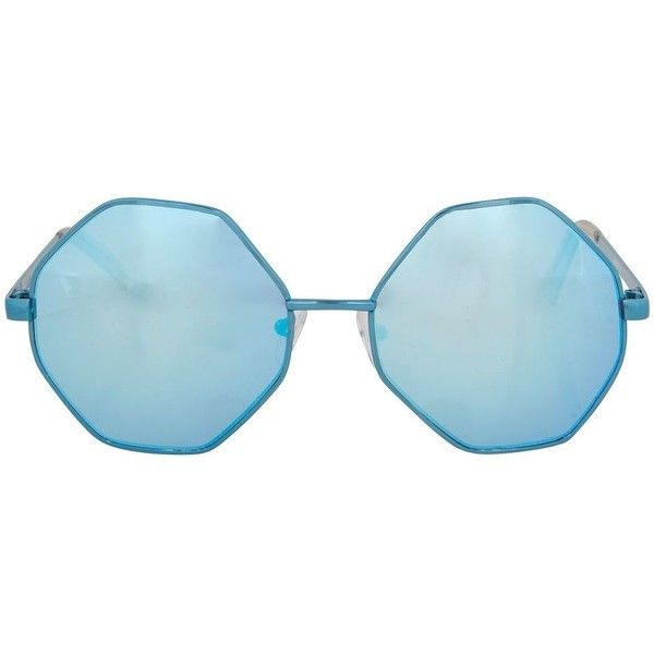 Topshop Metal Hexagon Sunglasses (14.275 CRC) ❤ liked on Polyvore featuring accessories, eyewear, sunglasses, turquoise, metal sunglasses, topshop sunglasses, hexagonal sunglasses, summer sunglasses and blue lens glasses