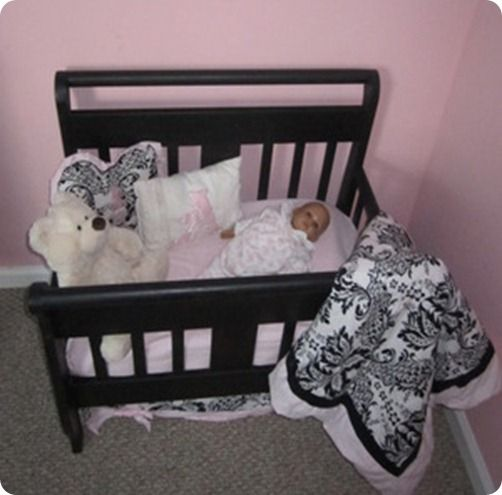 23 best images about new uses for old baby beds on pinterest toddler bed plate racks and. Black Bedroom Furniture Sets. Home Design Ideas