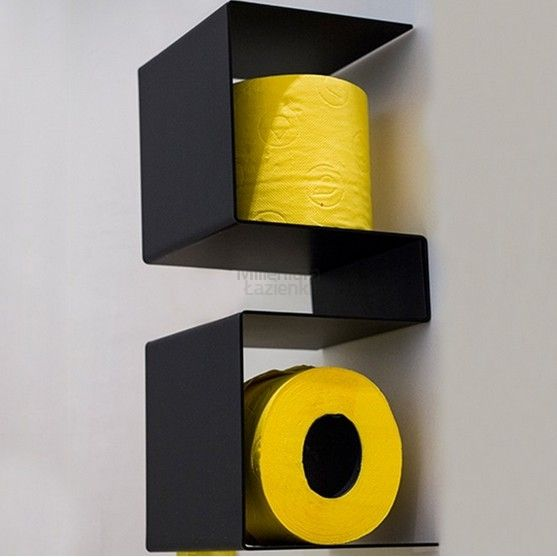 EXT Inteam Półka na papier toaletowy czarna - Nowoczesne wyposażenie łazienki, ekskluzywne, luksusowe, retro
