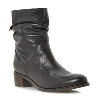 DUNE LADIES PAGER - Ruched Detail Block Heel Ankle Boot - black   Dune Shoes Online
