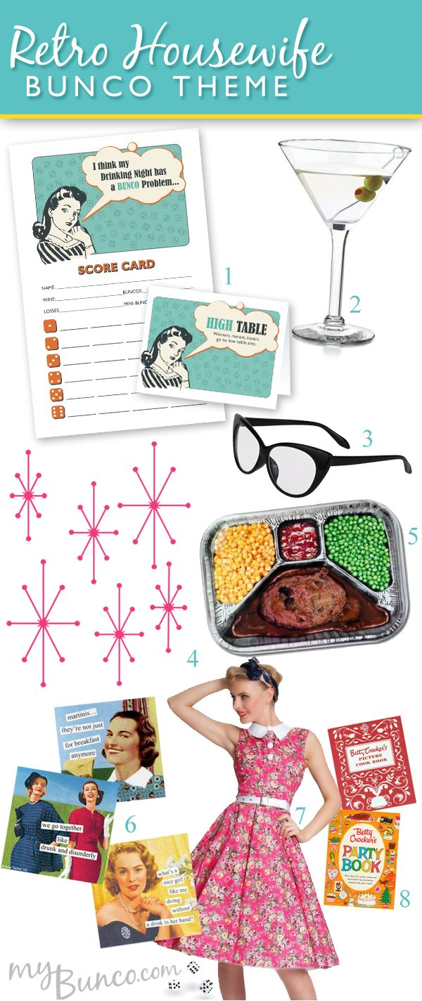 Retro Housewife Bunco Party Theme • My Bunco Your stop for all things Bunco related!