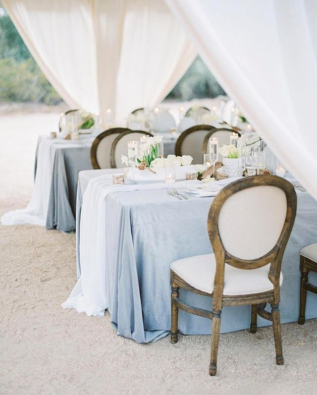 dusty blue wedding inspiration | romantic wedding decor | al fresco wedding insp…