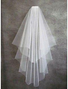 Wedding Veil Two-tier Fingertip Veils Cut Edge – AUD $ 21.44