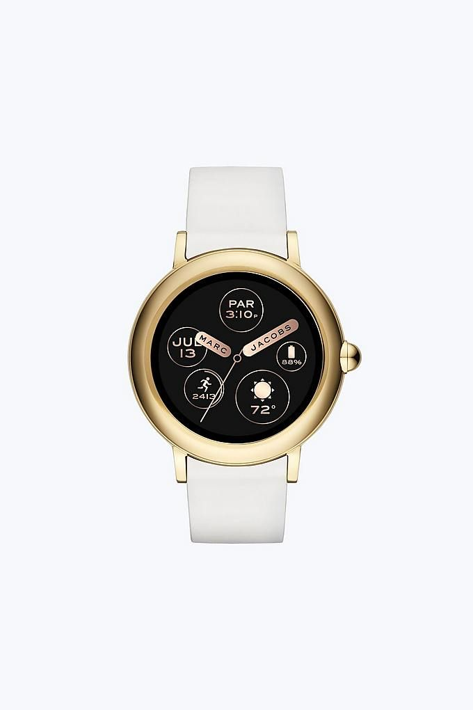 Marc Jacobs Riley Touchscreen Smartwatch In Gold White Smart Watch Marc Jacobs Watch Marc Jacobs