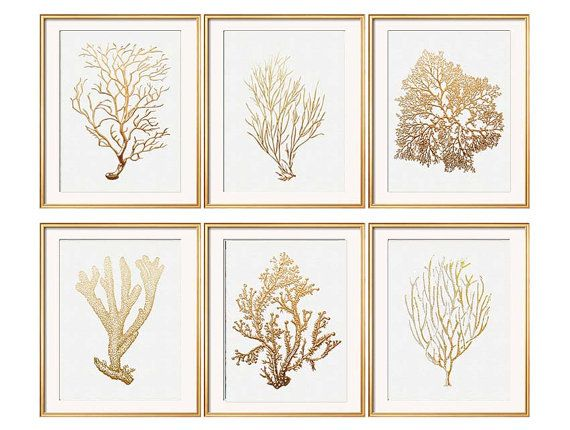 Gold Coral Print Set of Six Coral Art Prints by BeachHouseGallery - super affordable