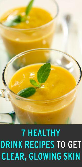 "Natural drink recipes for amazing skin: Turmeric Cinnamon Milk, Kale Lemondade, ""Get Gorgeous"" Tea, Parsley juice, Aloe Vera juice, Ginger Cucumber juice"