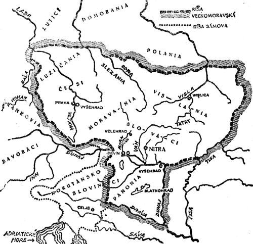 Map of the alleged extent of Great Moravia c. 869