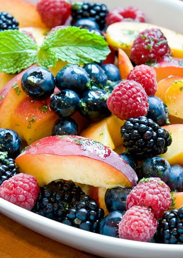 Peaches & Berries with Lemon-Mint Syrup RECIPE BY:  Once Upon A Chef http://www.yummly.com/page/once-upon-a-chef