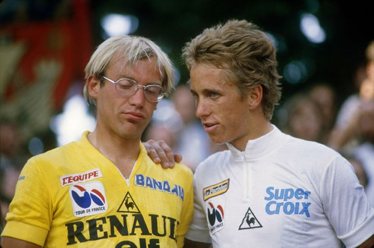 Laurent Fignon with Greg Lemond at the 1984 Tour de France which he won. It is a year ago today that Fignon died bringing to an end one of cycling's greats. Picture comes from L'Equipe's retrospective for Laurent Fignon.    Last french hero