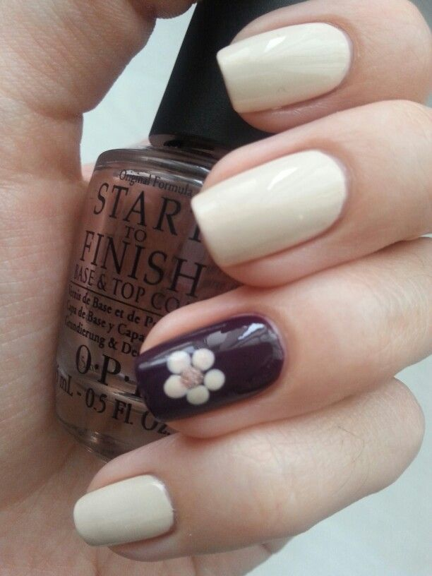 flower accent nails: OPI Euro Centrale - My Vampire is Buff & Revlon Bold Sangria nail polish