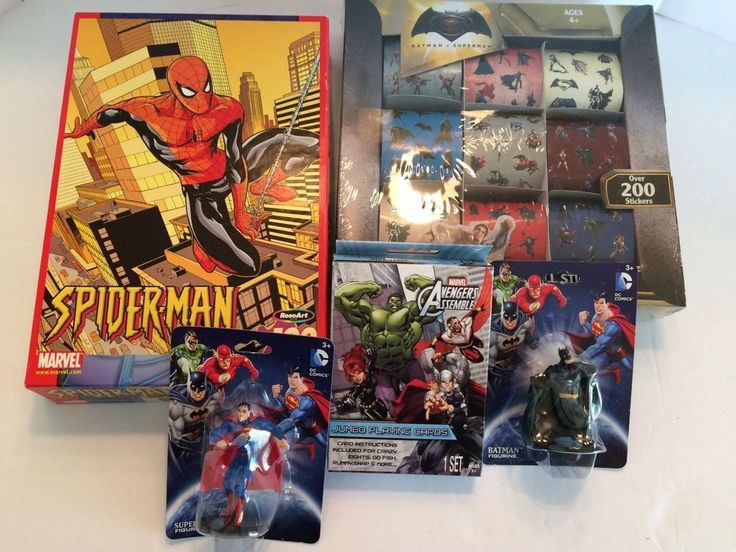 Spiderman Puzzle/ Batman V Superman stickers/ figures Avengers playing cards bdl #dccomics