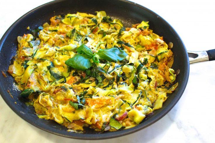 Ricotta Zucchini Fettuchini  Print Author: Jessica Sepel Ingredients 4 zucchinis 1 garlic clove 2 tbsp ricotta cheese 4 roma tomatoes handful basil – chopped 2 tbsp olive oil 1-2 tsp ro…