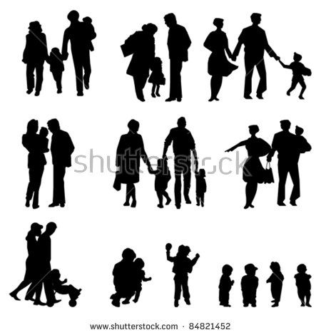 Outdoor walking Family silhouette. Mother, father with children. Isolated on white, vector
