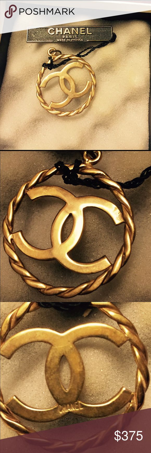 Lovingly worn Chanel pendant. Chic with anything. Lovingly worn Gold tone Chanel pendant. Comes in Chanel box. This refined pendant makes any outfit look chic. There are some minor scratches on the back of pendant which is stamped Chanel. In preloved condition. CHANEL Jewelry Necklaces