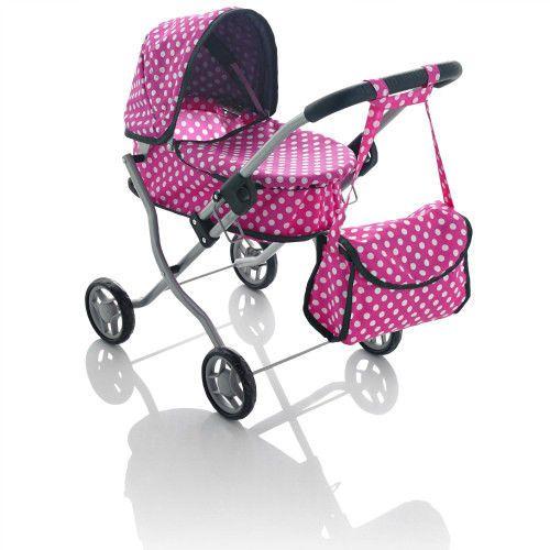 Girls Mini Dolls Pram Toy Polka Dot Design Kids Folding Stroller Play Toddler  #MollyDolly