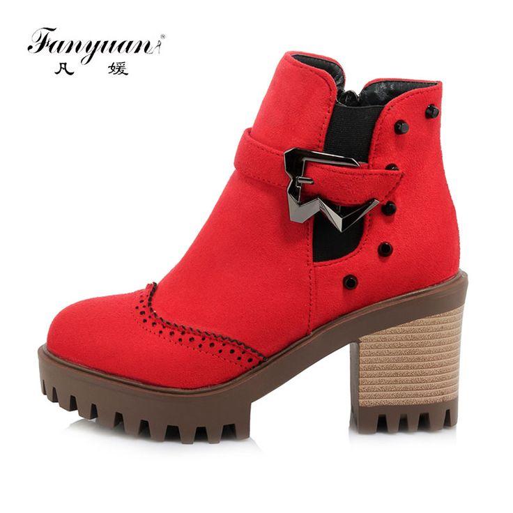 Новое поступление 2017 года весна/осень Женская мода Сапоги и ботинки на молнии, сапоги с квадратным каблуком для девочек Европейский Стиль ботильоны Сапоги и ботинкикупить в магазине fanyuan Official StoreнаAliExpress