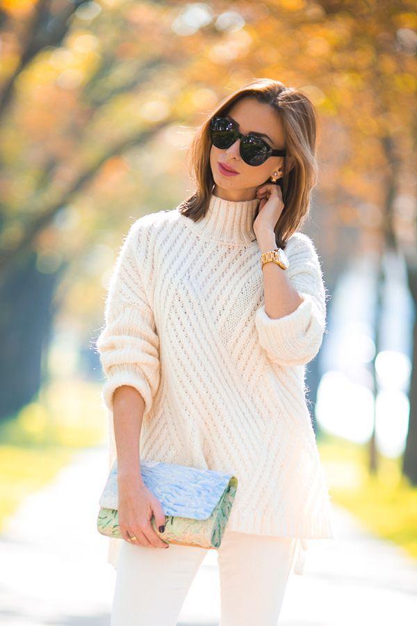 Уютная диагональ - свитер-оверсайз спицами. Тема на Осинке.