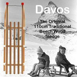 Classic timber sledges, built to last a lifetime. Solid beech wooden sledges with metal runners, 110cm - great for one, room for two!