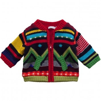 Catimini Baby Boys Fleece-Lined Knitted Cotton Cardigan at Childrensalon.com
