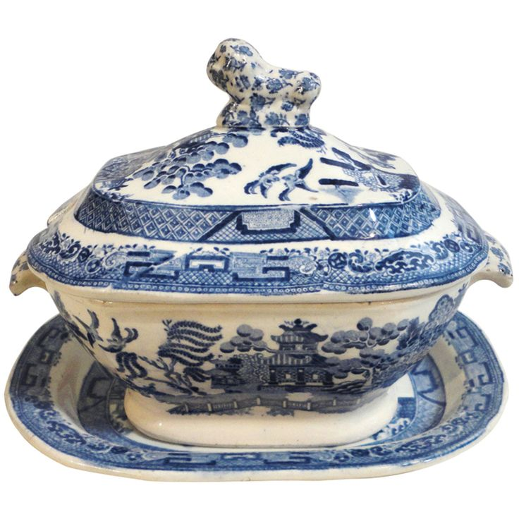 19thc  Early Spode England Blue Willow Tureen | From a unique collection of antique and modern serving pieces at http://www.1stdibs.com/furniture/dining-entertaining/serving-pieces/