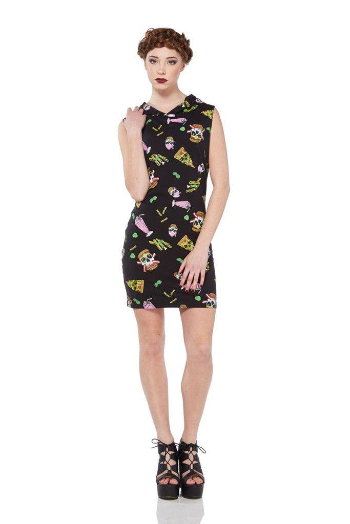 Jawbreaker Skull Fast Food Bodycon Dress