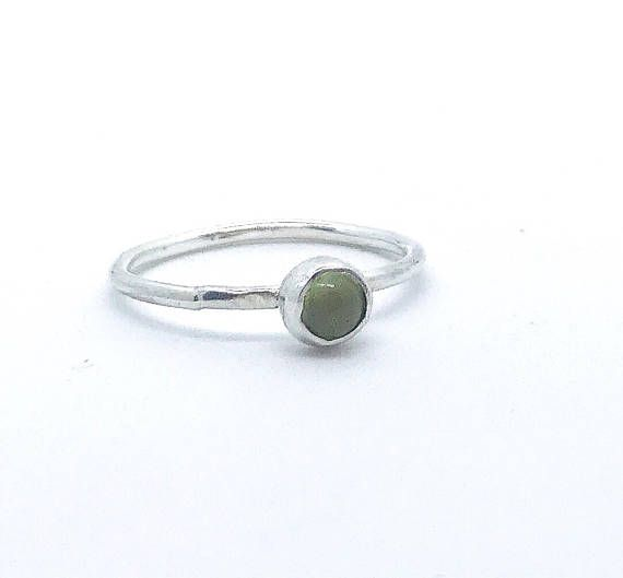 Silver peridot ring august birthstone green jewellery green