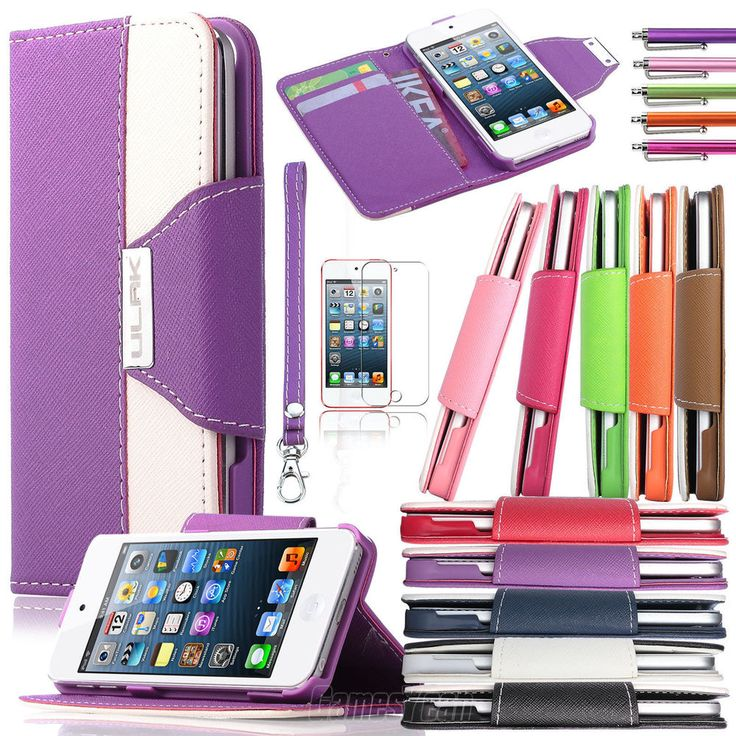 For iPod Touch 5 5th Gen 5G Color Wallet Leather Hard Case Cover Pouch Accessory