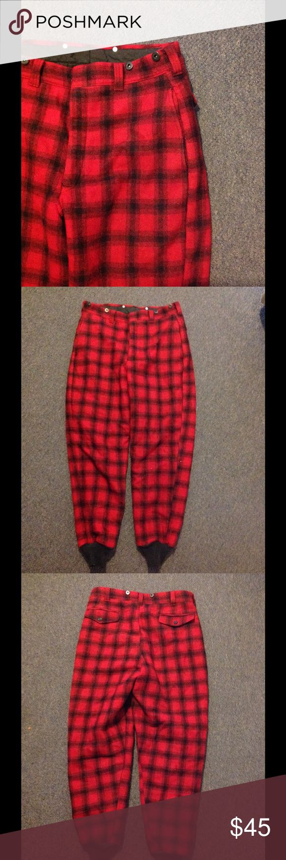 Woolrich Red Black  Buffalo Plaid Hunting Pants 34 Nice pair of Woolrich wool hunting pants. Red and black plaid with a quilted thinsulate lining. Pre owned nice condition. Size 34 Woolrich Pants
