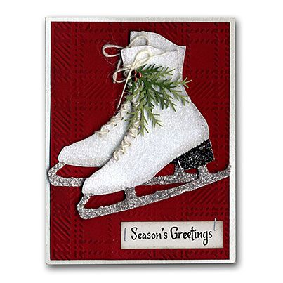 Die-cut Ice Skates Card - I made the sample for class at Archiver's and then I made a tag with white Velvet Paper.
