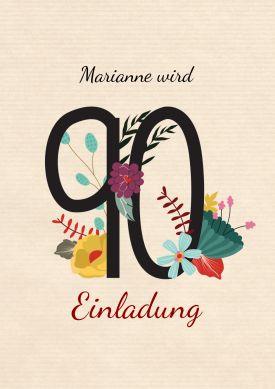Schöne, Stilvolle Einladung Zum 90. Geburtstag Mit Zahl Und Blumen