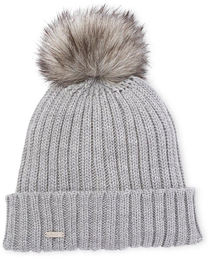 3aef47fa2b2 Calvin Klein Faux Fur Pom-Pom Beanie