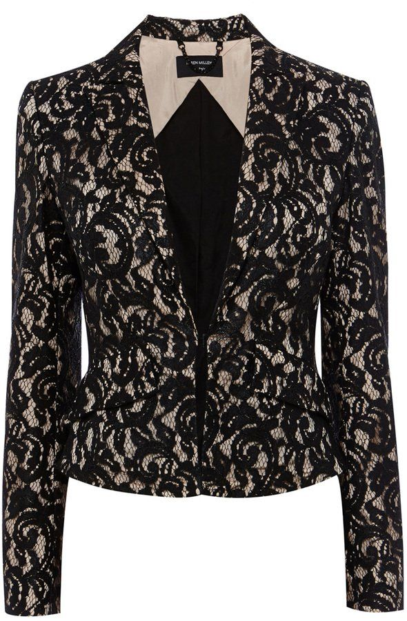 Pin for Later: A Tux Jacket Makes Every Outfit Look Instantly Chic Karen Millen Lace Jacket Karen Millen Lace Jacket (£210, originally £350)