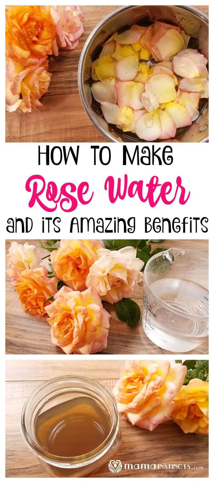 Rose water does wonders for your skin. Use this natural face toner to hydrate, nourish and stop premature aging of your face skin. This DIY rose water recipe is easy and simple to make. #DIYbeauty #MamaInstinctsBlog