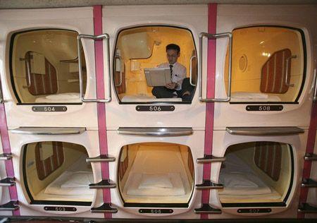 Japanese capsule hotel.