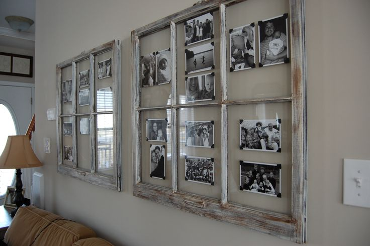 Old windows!!  Love the black corner brackets on the pictures.  Makes this shabby vintage and traditional.